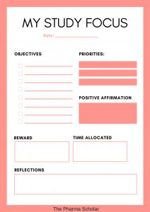 Study focus printable